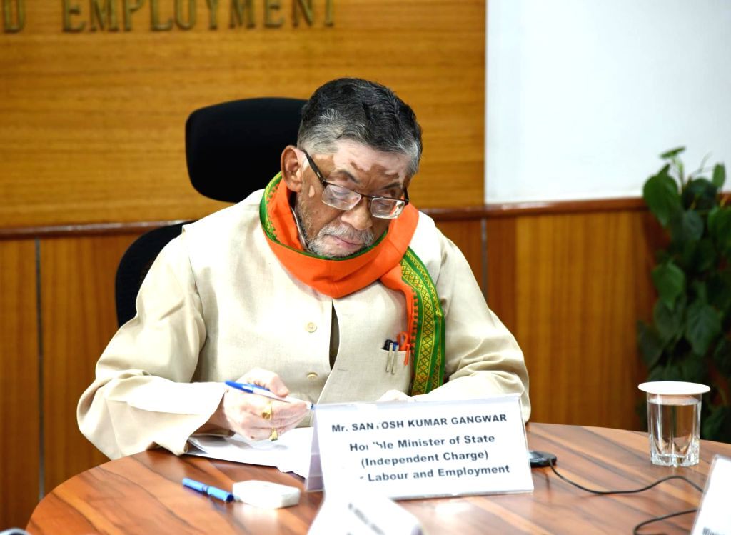 Union MoS Labour and Employment (Independent Charge) Santosh Kumar Gangwar holds a video conference meeting with the Trade Union representatives during the extended nationwide lockdown ... - Santosh Kumar Gangwar