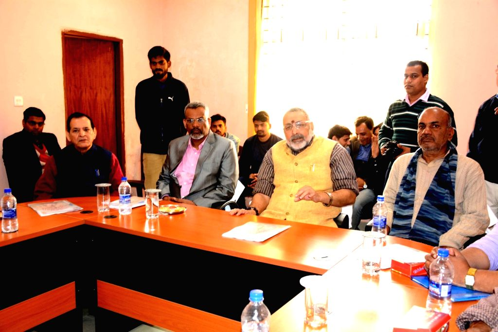 Union MoS Micro, Small and Medium Enterprises Giriraj Singh addresses during a review meeting at Tool Room and Training Center in Patna, on  Feb 9, 2019. - Enterprises Giriraj Singh