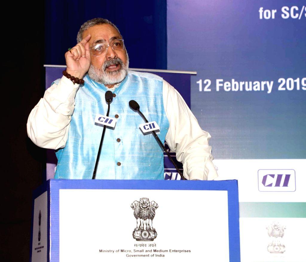 Union MoS MSME Giriraj Singh addresses at the inauguration of the Regional Conference on MSME Financing under National SC/ST Hub Scheme, in New Delhi on Feb 12, 2019. - Giriraj Singh