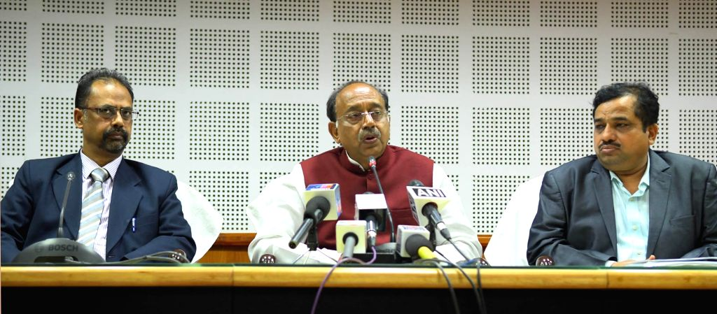 Union MoS Parliamentary Affairs and Statistics and Programme Implementation Vijay Goel addresses a press conference, in Agartala on March 5, 2019.