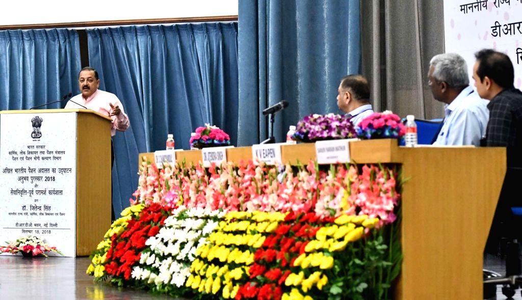 Union MoS Personnel, Public Grievances and Pensions, Jitendra Singh addresses after inaugurating the All India Pension Adalat, in New Delhi on Sept 18, 2018. - Jitendra Singh
