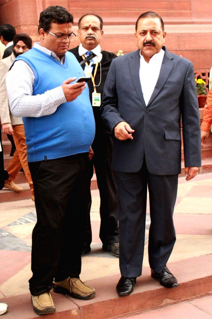 Union MoS PMO Jitendra Singh at the Parliament in New Delhi, on Dec 10, 2015. - Jitendra Singh