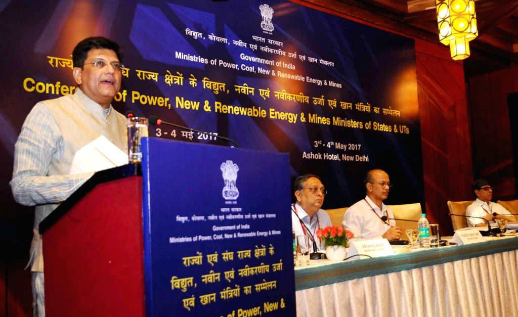 Union MoS Power and Mines Piyush Goyal addresses at the inauguration of the conference of Power, Renewable Energy and Mines Ministers of States & UTs, in New Delhi on May 3, 2017.