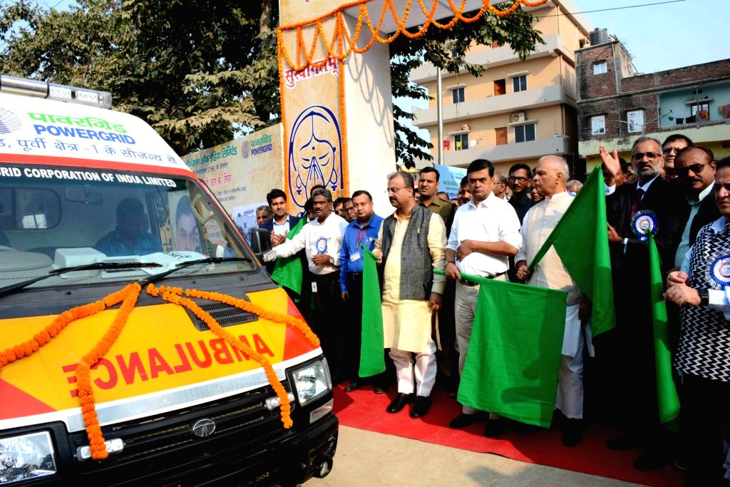 Union MoS Power and New and Renewable Energy RK Singh and Bihar Minister Mangal Pandey flag off an ambulance at the inauguration of Powergrid Rest house at Indira Gandhi Institute of Medical ... - Mangal Pandey and Indira Gandhi Institute