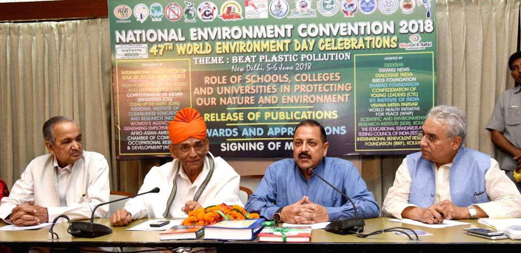 Union MoS Prime Minister's Office Jitendra Singh addresses at National Environment Convention organised on the occasion of World Environment Day, in New Delhi on June 5, 2018. - Jitendra Singh