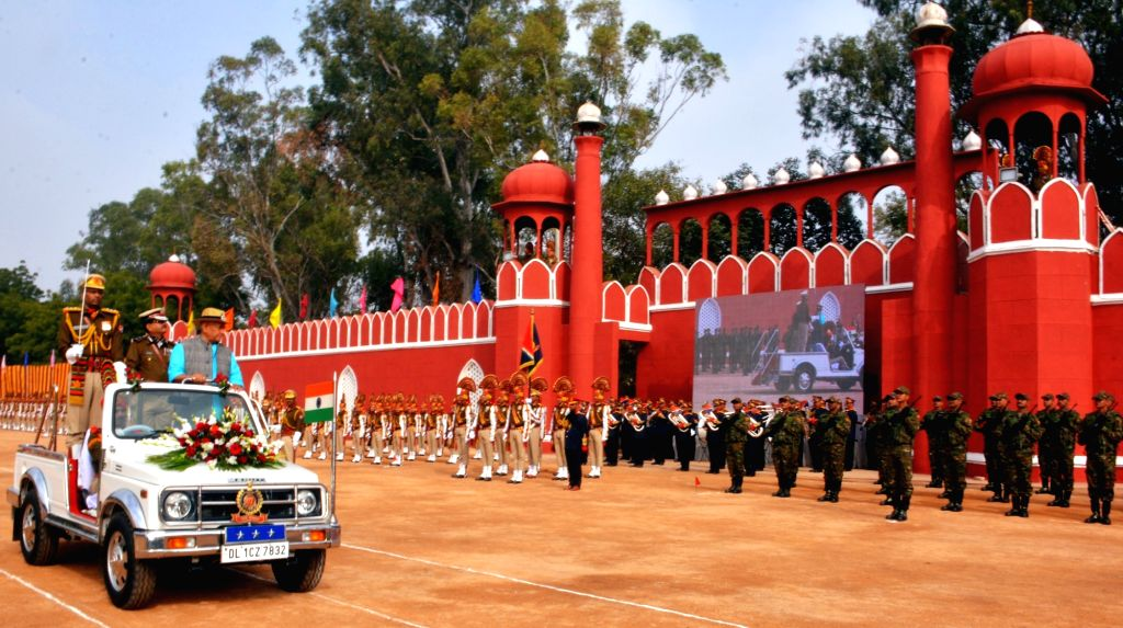 Union MoS Railways Manoj Sinha inspects guard of honour at the Railway Protection Force Investiture Parade 2019, in New Delhi, on Feb 22, 2019. Also seen Railway Protection Force (RPF) DG, ... - Manoj Sinha and Arun Kumar