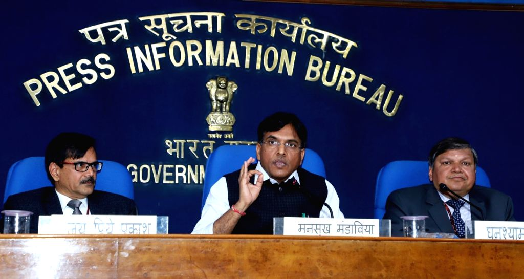 "Union MoS Road Transport and Highways, Shipping and Chemicals and Fertilizers Mansukh L. Mandaviya addresses a press conference on the eve of ""Jan Aushadhi Diwas,"" in New Delhi, ..."
