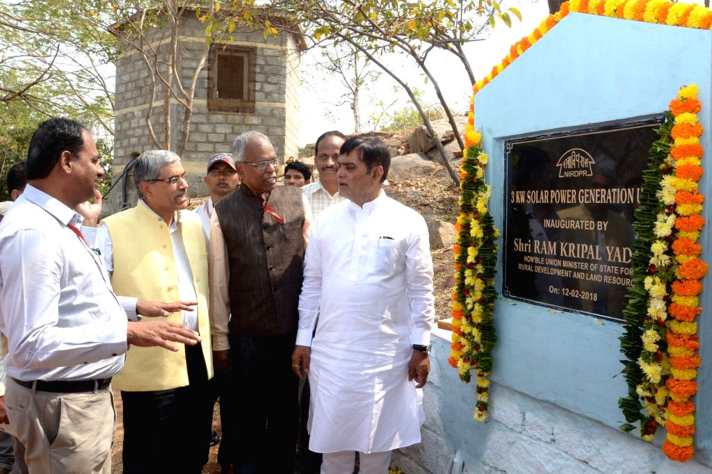 Union MoS Rural Development Ram Kripal Yadav during the inauguration of 3KW Solar Power Generation Unit in Hyderabad on Feb 12, 2018.