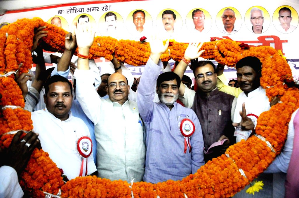 Union MoS Rural Development Ram Kripal Yadav during a rally, in Patna on April 4, 2018.