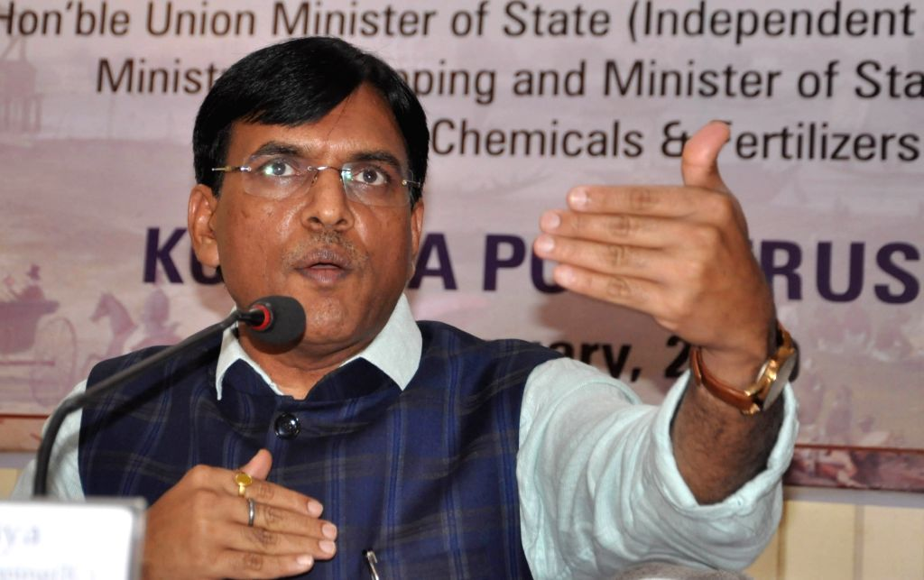 Union MoS Shipping and Chemical and Fertilizers Mansukh L. Mandaviya addresses a press conference in Kolkata on Jan 10, 2020.