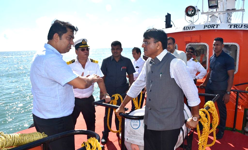 Union MoS Shipping (Independent Charge) and Chemicals and Fertilizers Mansukh L. Mandaviya visits the harbor at Paradip port in Odisha to view various facilities of container, cargo ...