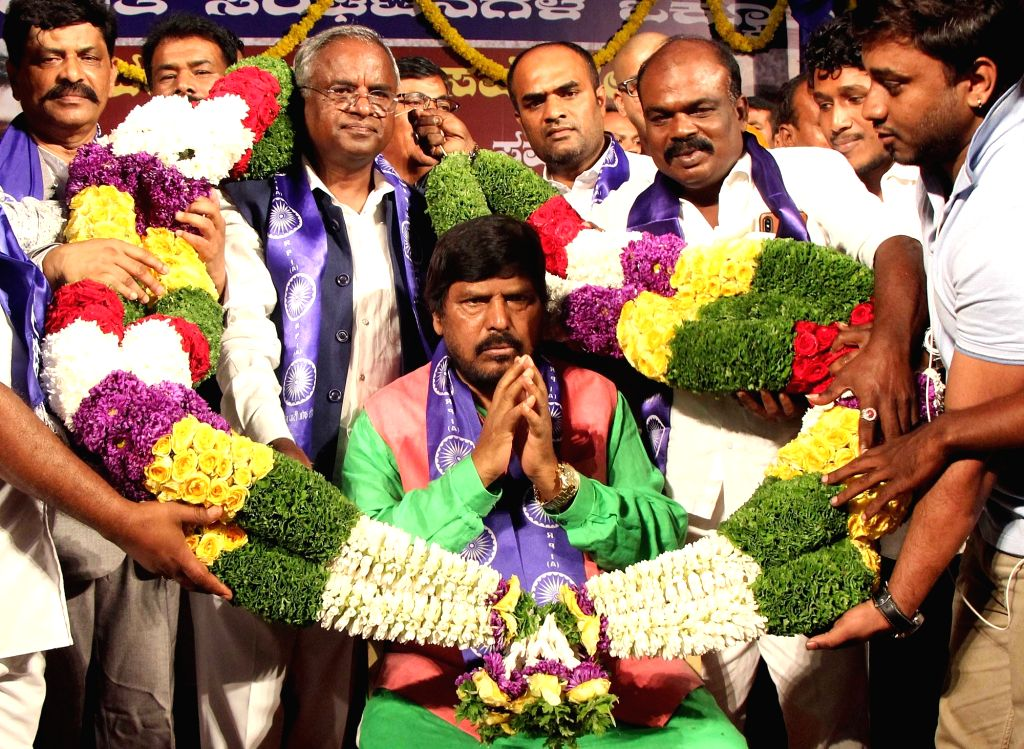 Union MoS Social Justice and Empowerment and Republican Party of India President Ramdas Athawale during Dalit Rights and Awareness Conference in Bengaluru on Sep 4, 2019.
