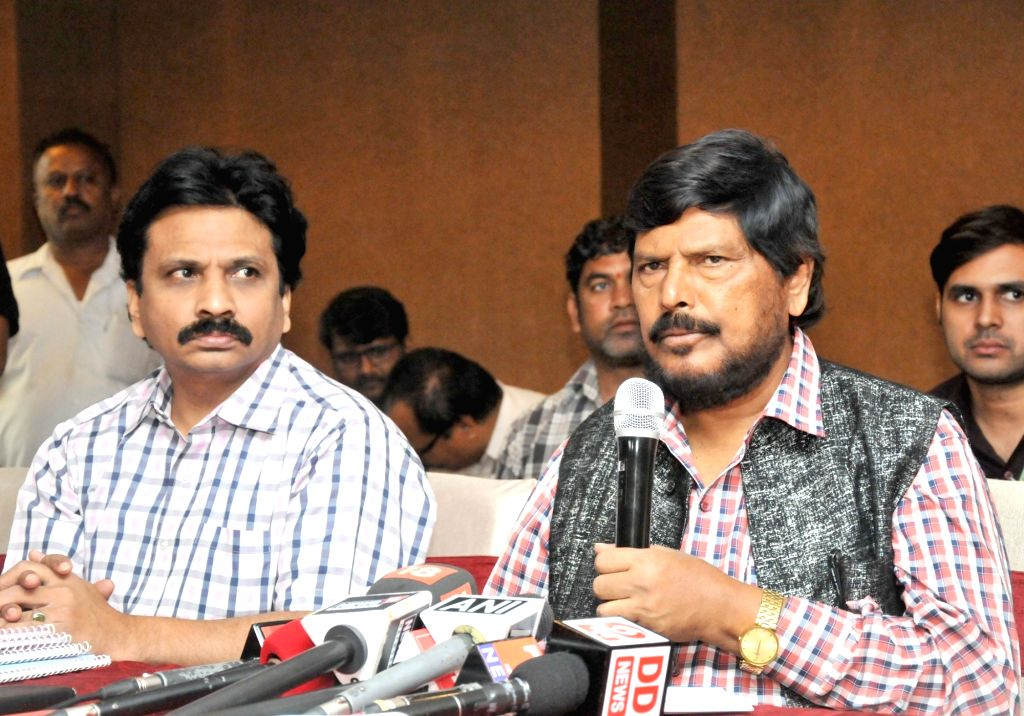 Union MoS Social Justice and Empowerment Ramdas Athawale addresses a press conference, in Hyderabad on July 14, 2018.