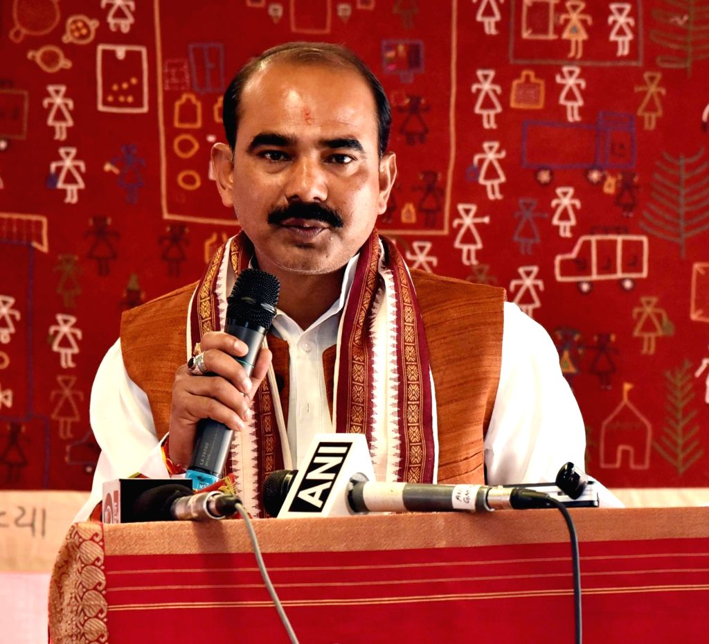 Union MoS Textiles Ajay Tamta addresses at the inauguration of the refurbished Handloom Haat, in New Delhi, on March 5, 2019.