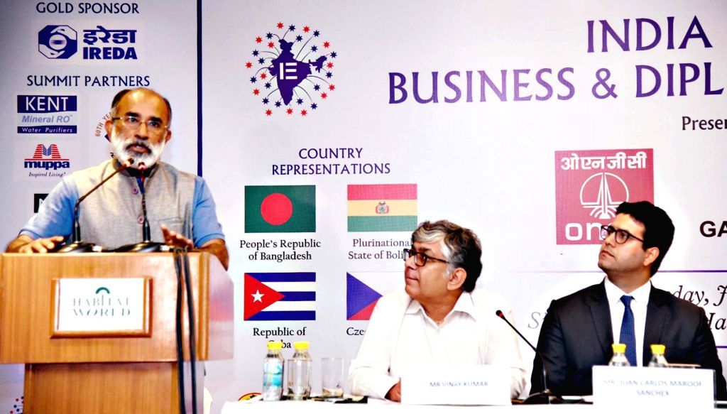 Union MoS Tourism Alphons Kannanthanam addresses a session on 'Tourism Infrastructure' at India Empire Business and Diplomacy Summit , in New Delhi on July ...