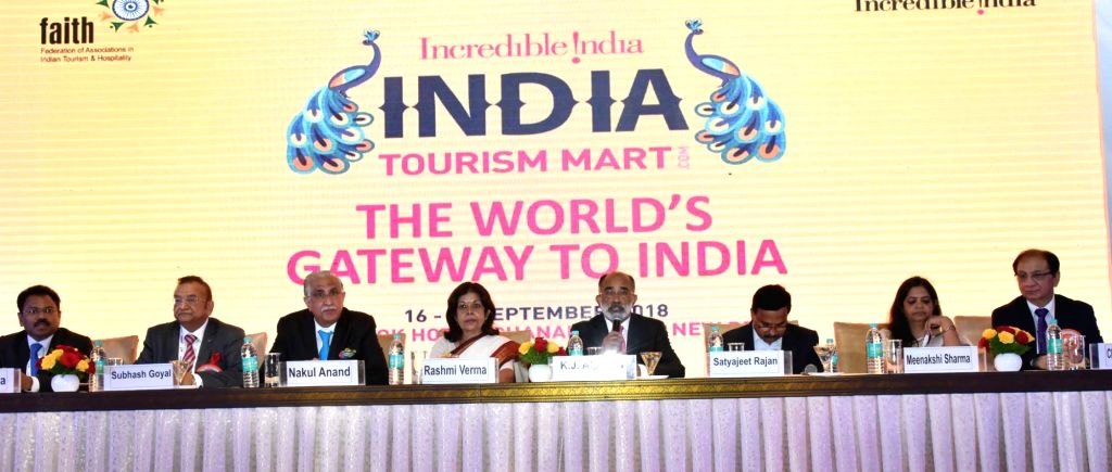 Union MoS Tourism Alphons Kannanthanam addresses a press conference after inauguration of the 'India Tourism Mart 2018', in New Delhi, on Sept 17, 2018.