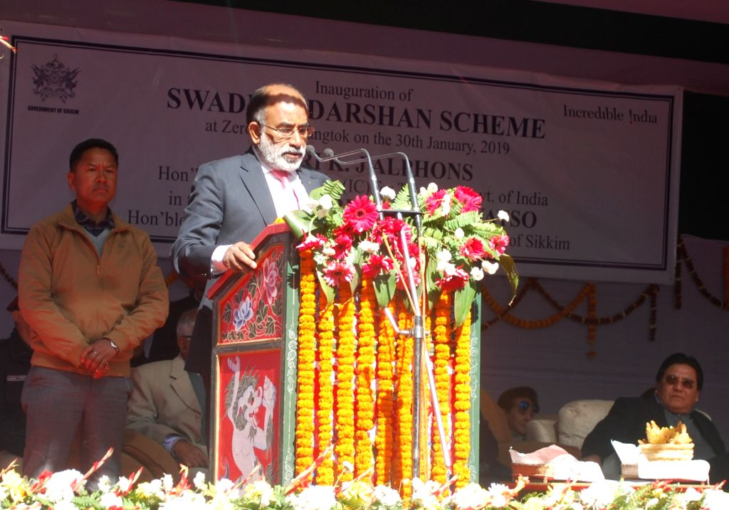 Union MoS Tourism Alphons Kannanthanam addresses at the inauguration of the Swadesh Darshan project of the Ministry of Tourism, in Sikkim's Gangtok, on Jan 30, 2019.