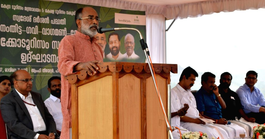 Union MoS Tourism Alphons Kannanthanam addresses at the inauguration of the 'Eco Circuit: Pathanamthitta - Gavi - Vagamon - Thekkady' project, in Kerala's Idukki district, on Feb 17, 2019.