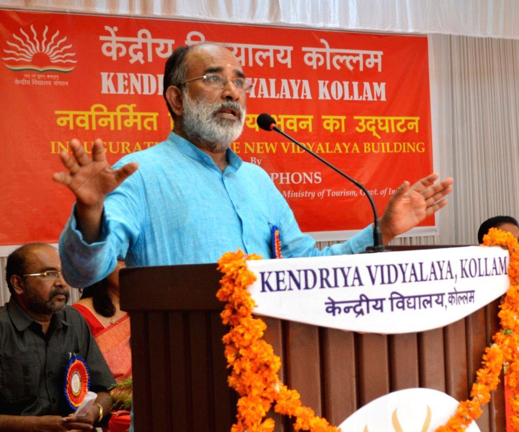 Union MoS Tourism Alphons Kannanthanam addresses after inaugurating the new school building of Kendriya Vidyalaya, in Kollam, Kerala, on March 3, 2019.