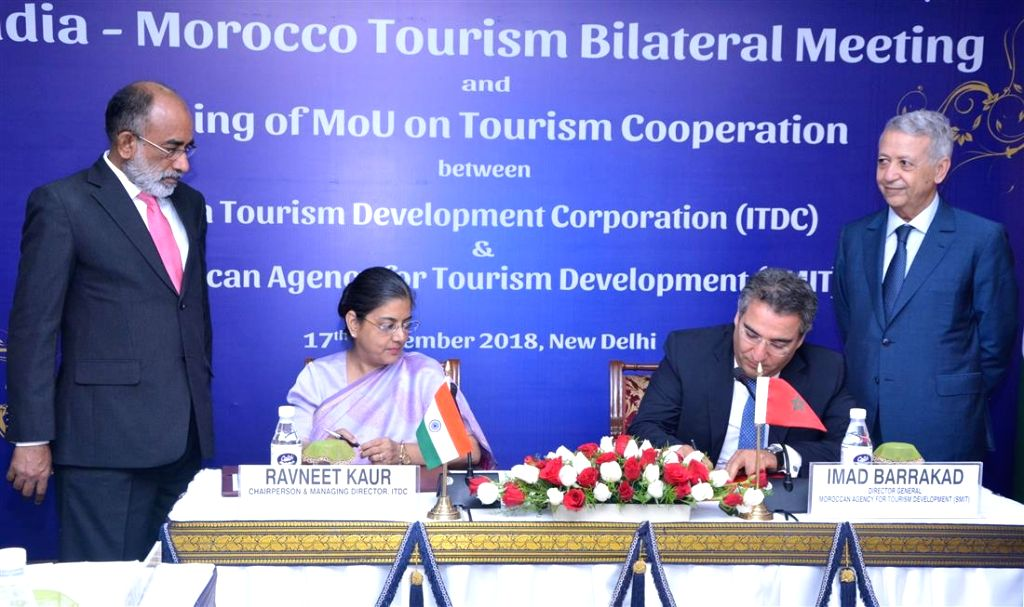 Union MoS Tourism Alphons Kannanthanam and Morocco's Tourism Minister Mohamed Sajid witness signing of MoU on Tourism Cooperation in New Delhi, on Sept 17, 2018. - Mohamed Sajid