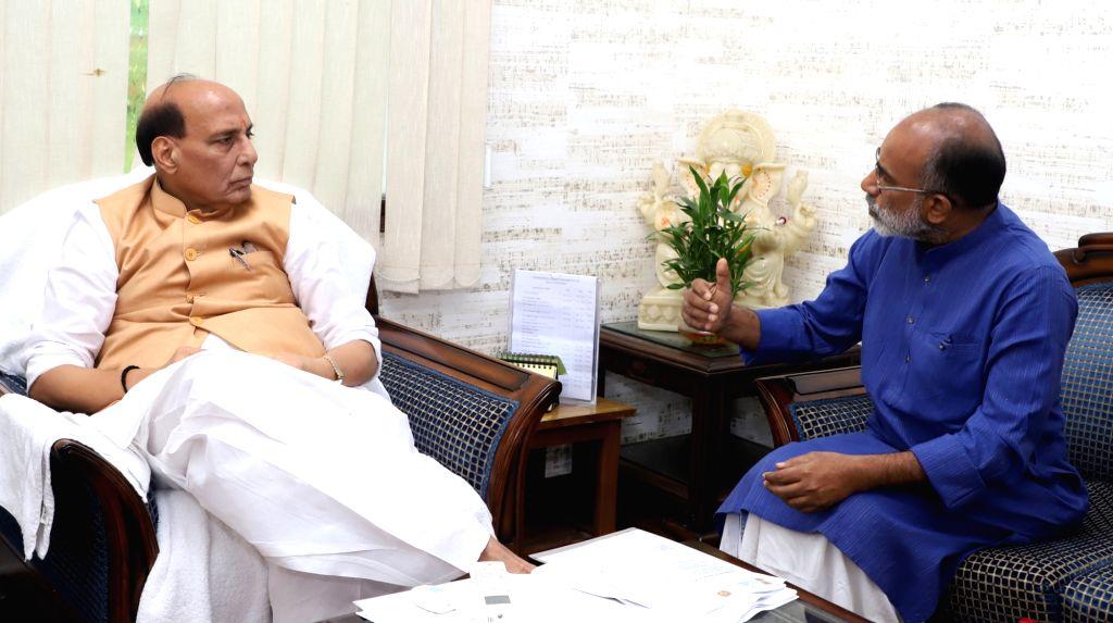Union MoS Tourism Alphons Kannanthanam calls on Union Home Minister Rajnath Singh, New Delhi, on July 27, 2018. - Rajnath Singh