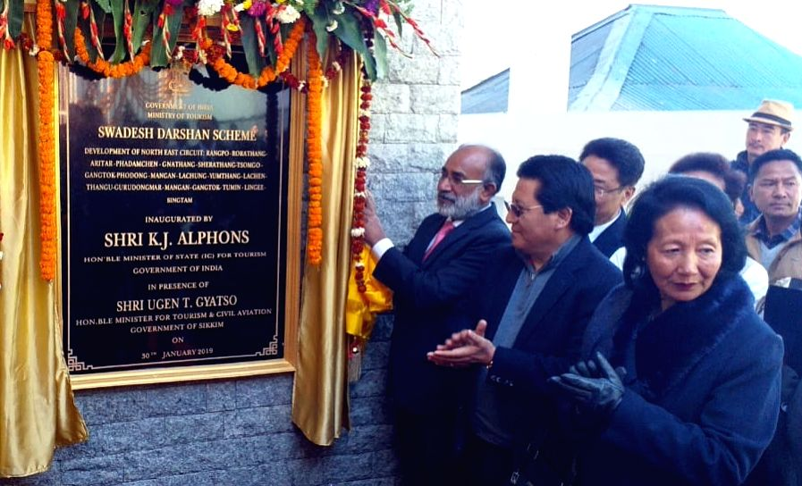 Union MoS Tourism Alphons Kannanthanam unveils the plaque to inaugurate the Swadesh Darshan project of the Ministry of Tourism, in Sikkim's Gangtok, on Jan 30, 2019.