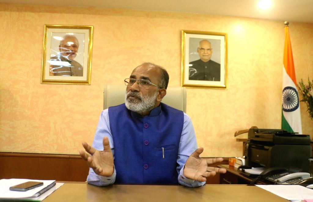 Union MoS Tourism (I/C) Alphons Kannanthanam during an interview with IANS in New Delhi on Sept 18, 2017.