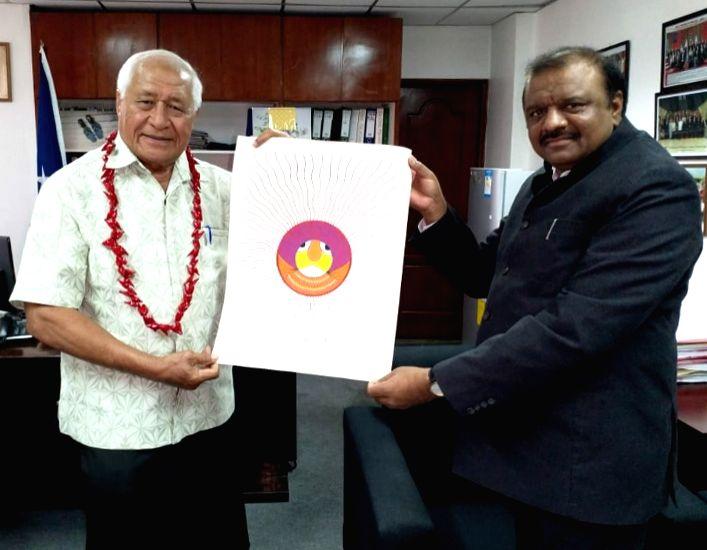 Union MoS Tribal Affairs Jaswantsinh Sumanbhai Bhabhor calls on Samoa's Health Minister Leao Talalelei Tuitama, in Samoa on May 21, 2018. - Leao Talalelei Tuitama