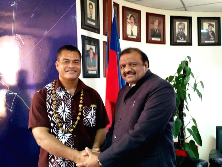 Union MoS Tribal Affairs Jaswantsinh Sumanbhai Bhabhor calls on the acting Prime Minister of Samoa, Afamasaga Lepuiai Rico Tupa'i, in Samoa on May 21, 2018.