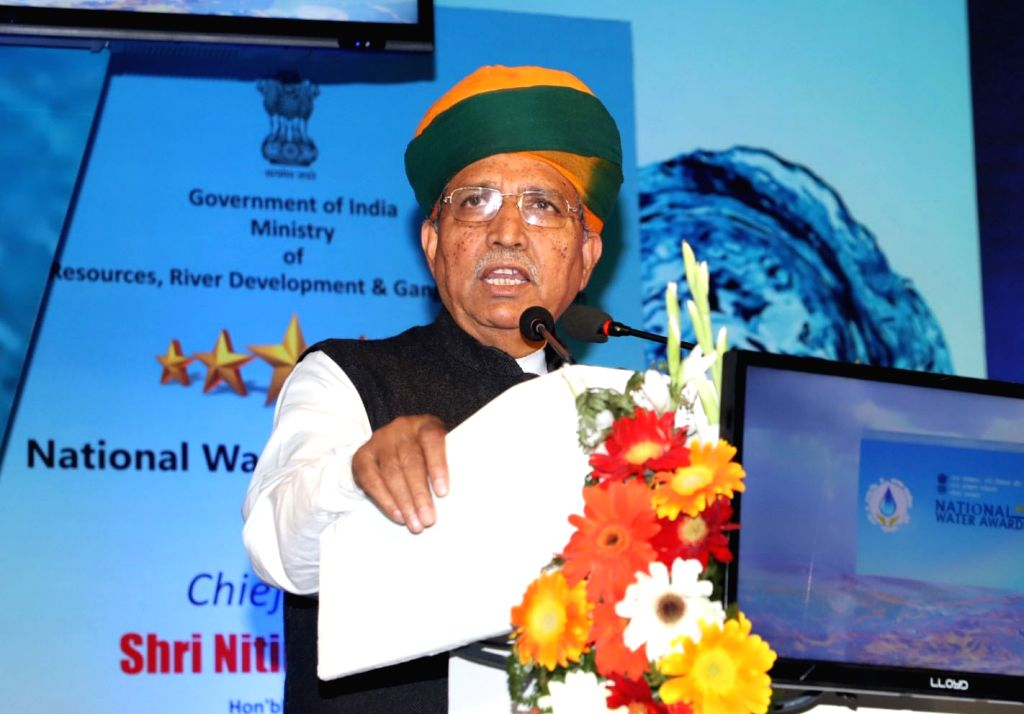 Union MoS Water Resources Arjun Ram Meghwal addresses at the presentation of the National Water Awards, in New Delhi, on Feb 25, 2019.
