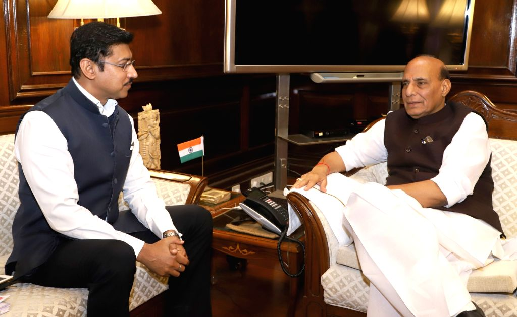 Union MoS Youth Affairs and Sports and Information and Broadcasting Col. Rajyavardhan Singh Rathore calls on Union Home Minister Rajnath Singh, in New Delhi on May 22, 2018. - Rajnath Singh and Rajyavardhan Singh Rathore