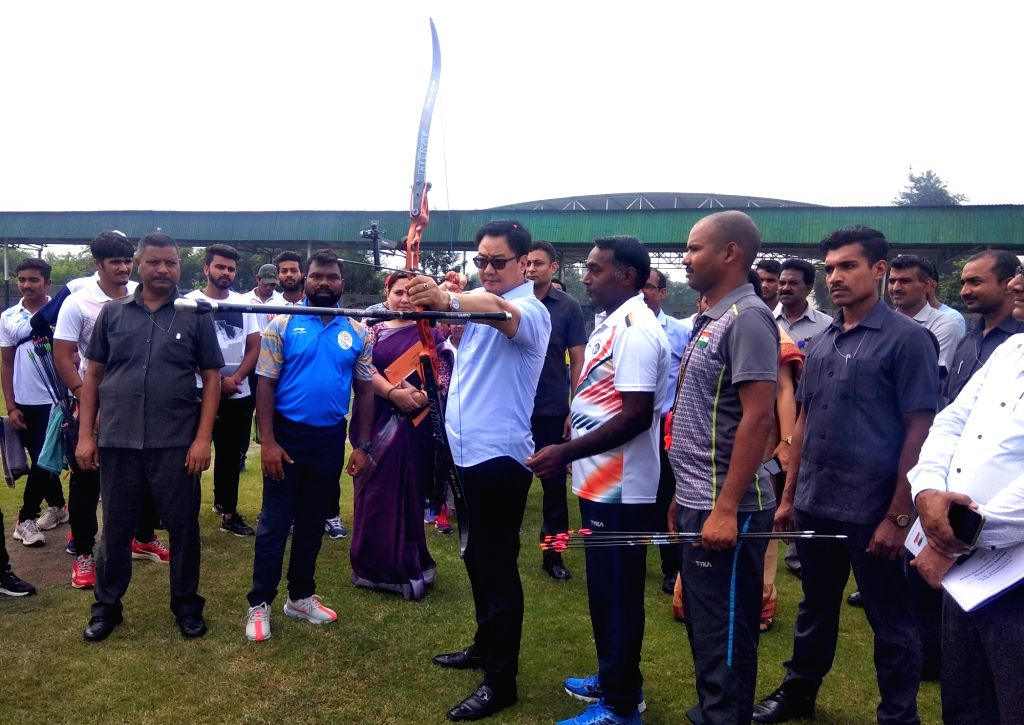 Union MoS Youth Affairs and  Sports (I/C) Kiren Rijiju during his visit to the Sports Authority of India (SAI) Northern Regional center, at Bahalgarh, Sonipat, in Haryana, on Sep 4, 2019.