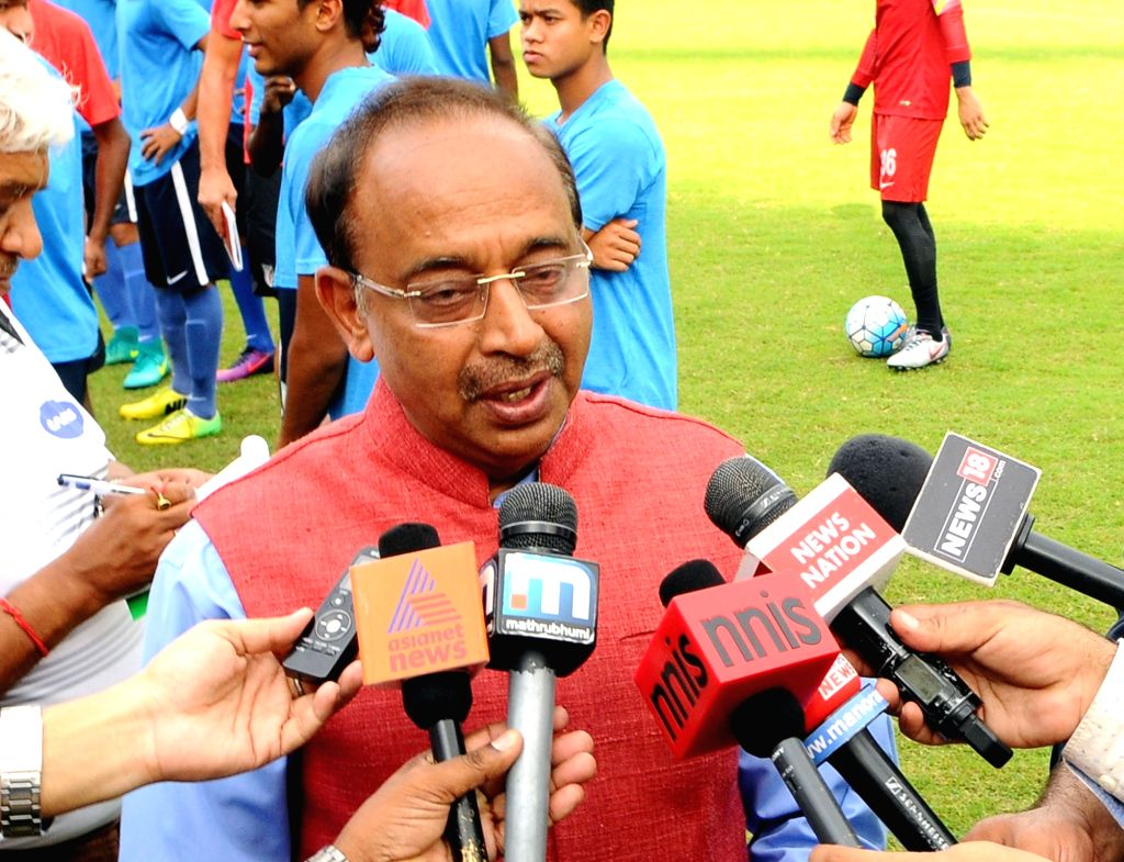 Union MoS Youth Affairs and Sports (I/C) Vijay Goel talks to press after meeting the Indian U-17 Football Team preparing for FIFA World Cup, at Jawaharlal Nehru Stadium, in New Delhi on ...