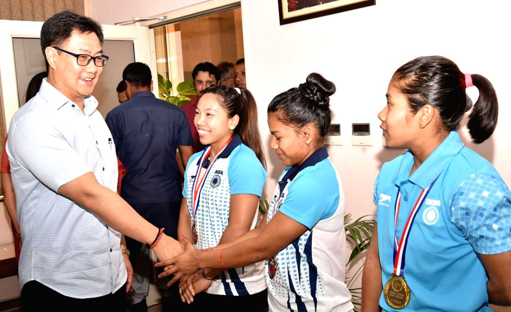Union MoS Youth Affairs and Sports (Independent Charge) Kiren Rijiju meets the athletes of the Indian Contingent who participated in the Commonwealth Weightlifting Championship in Samoa; ...