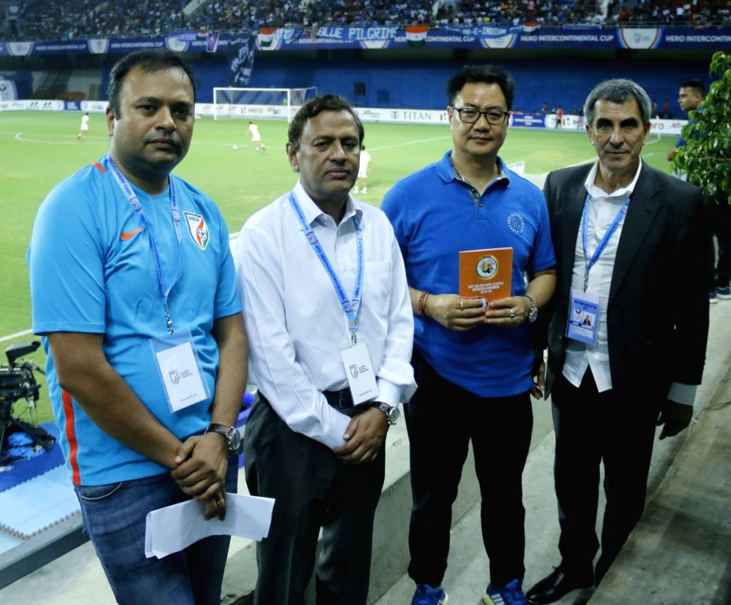 Union MoS Youth Affairs and Sports (Independent Charge) Kiren Rijiju with All India Football Federation (AIFF) General Secretary Kushal Das, Technical Director Isac Doru and I-League CEO ...