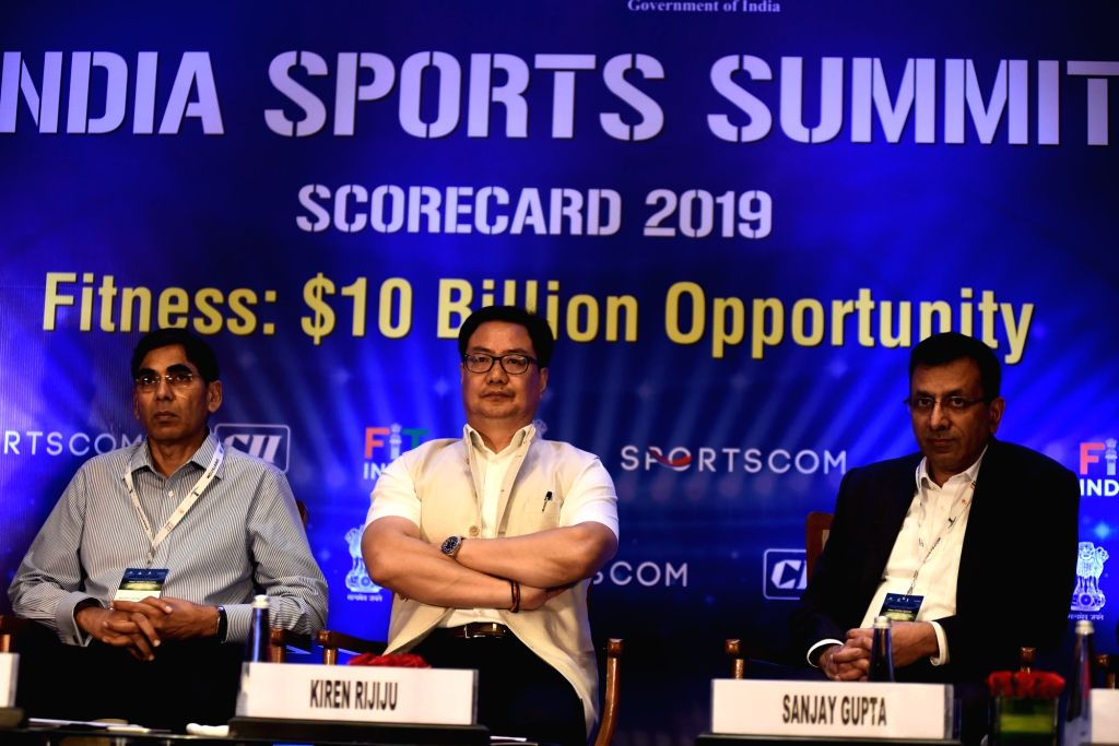 Union MoS Youth Affairs and Sports (Independent Charge) Kiren Rijiju at the 'India Sports Summit ??? Fitness: $10 Billion Opportunity', in New Delhi on Oct 10, 2019.