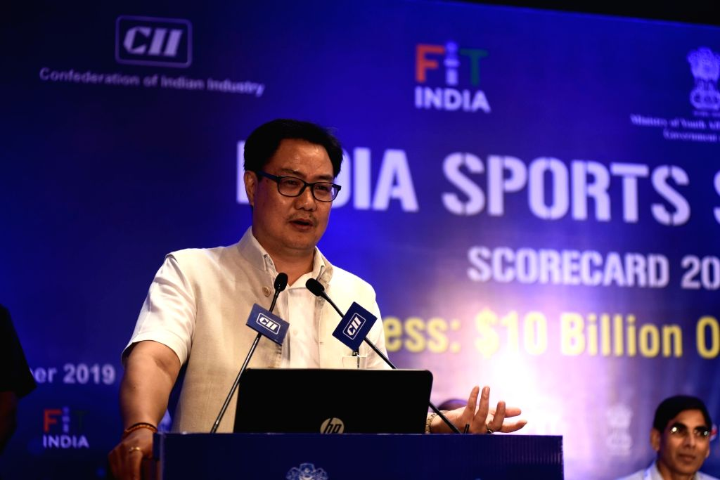 Union MoS Youth Affairs and Sports (Independent Charge) Kiren Rijiju addresses at the 'India Sports Summit ??? Fitness: $10 Billion Opportunity', in New Delhi on Oct 10, 2019.