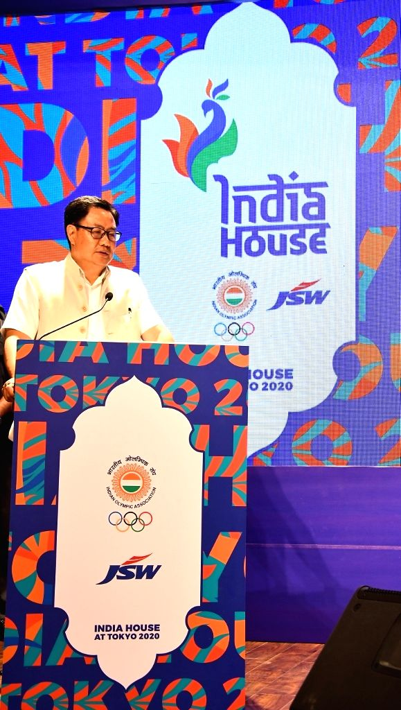 Union MoS Youth Affairs and Sports (Independent Charge) Kiren Rijiju addresses during a programme where he announced to set up India House in Tokyo to provide athletes with Indian food and ...
