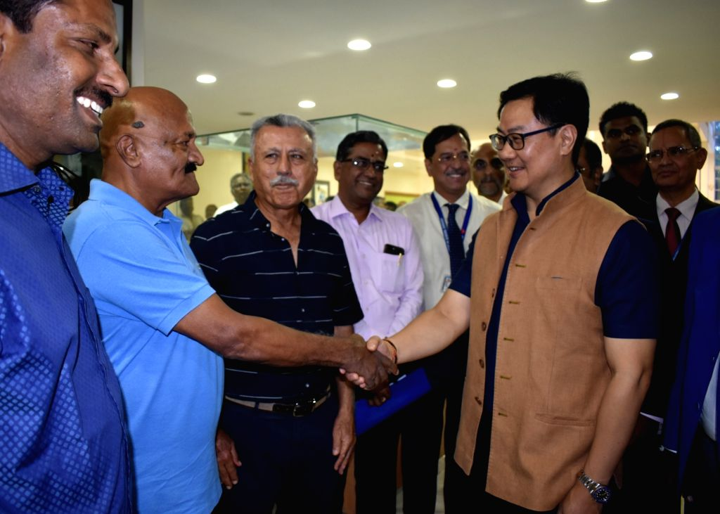 Union MoS Youth Affairs and Sports (Independent Charge) and Minority Affairs Kiren Rijiju interacting with the Hockey Olympians, at the Centre for Sports Science, Sri Ramachandra Institute ...