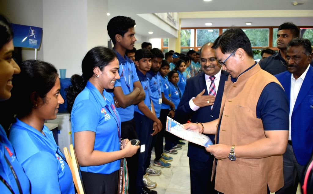 Union MoS Youth Affairs and Sports (Independent Charge) and Minority Affairs Kiren Rijiju interacting with the students, at the Centre for Sports Science, Sri Ramachandra Institute of Higher ...