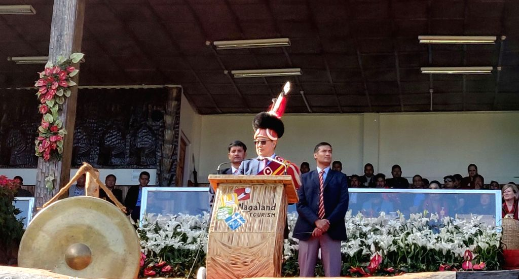 Union MoS Youth Affairs and Sports (Independent Charge) and Minority Affairs Kiren Rijiju addresses during the Hornbill festival at Kisama in Kohima, Nagaland on Dec 7, 2019.