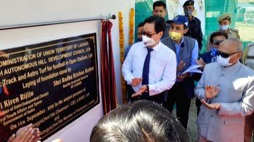 Union MoS Youth Affairs and Sports Kiren Rijiju lays the foundation stone for works relating to Synthetic Track and Astro Turf for football in open stadium in Leh, Ladakh on Sep 14, 2020. Ladakh ...