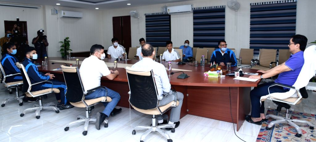 Union MoS Youth Affairs and Sports Kiren Rijiju interacts with the Indian judo team members travelling to Budapest (Hungary) to participate in the Grand Slam 2020 - an International Judo ...