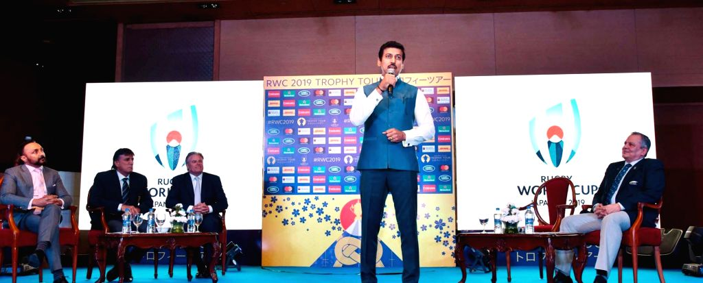 Union MoS Youth Affairs and Sports Rajyavardhan Singh Rathore addresses at the Rugby World Cup-2019 Trophy tour function, in New Delhi, on  Aug 6, 2018 - Rajyavardhan Singh Rathore