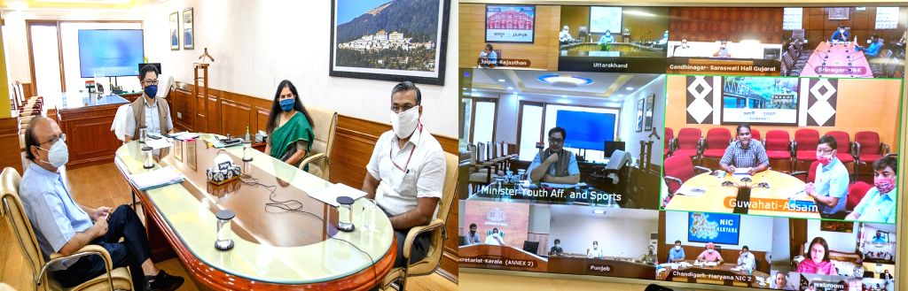 Union MoS Youth Affairs & Sports (Independent Charge) Kiren Rijiju holds a meeting with the Sports and Youth Affairs Ministers of all states and union territories through video ...