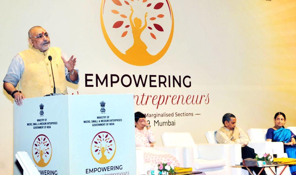 Union MSME Minister Giriraj Singh addresses at the inauguration of the SC-ST Women Entrepreneurs Programme, in Mumbai, on Feb 25, 2019. - Giriraj Singh