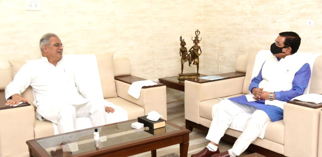 Union Parliamentary Affairs, Coal and Mines Pralhad Joshi meets Chhattisgarh Chief Minister Bhupesh Baghel to discuss issues related to coal and other minerals in the state, in Raipur on July ... - Bhupesh Baghel and Pralhad Joshi