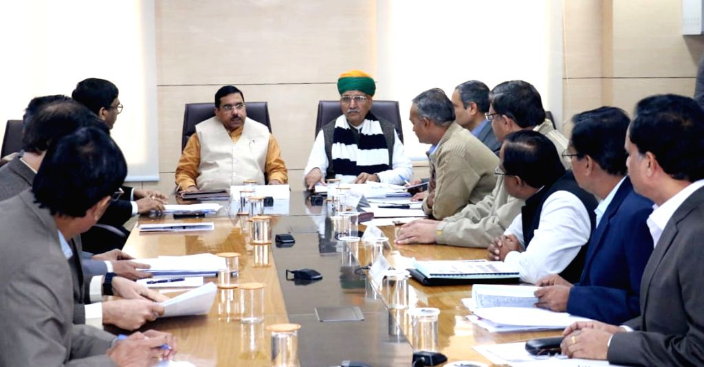 Union Parliamentary Affairs, Coal and Mines Minister Pralhad Joshi reviews the mineral exploration projects of Rajasthan; in New Delhi on Jan 25, 2020. Also seen Union MoS Parliamentary ... - Pralhad Joshi