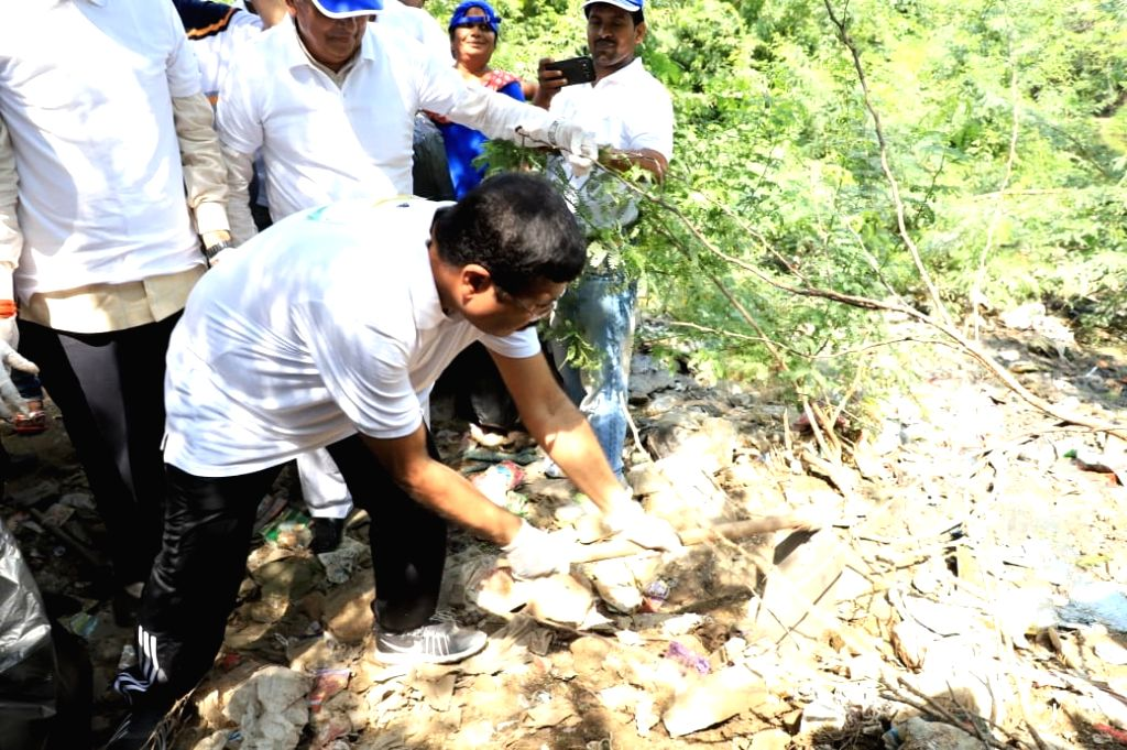 Union Petroleum and Natural Gas and Skill Development and Entrepreneurship Minister Dharmendra Pradhan participates in a cleanliness drive, as part of the 'Swachhata Hi Seva Movement', at ... - Dharmendra Pradhan