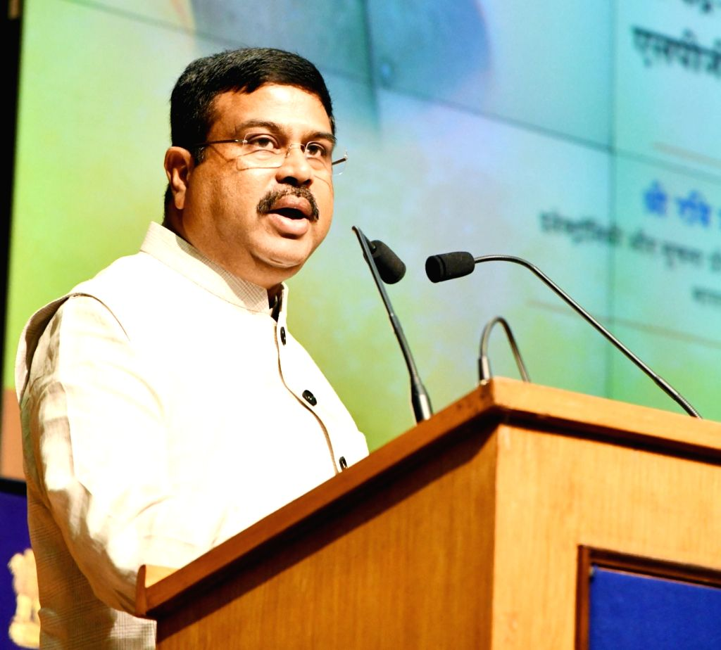 Union Petroleum and Natural Gas and Skill Development and Entrepreneurship Dharmendra Pradhan addresses at the signing ceremony of an MoU between OMCs (oil marketing companies) (IOCL, HPCL ...
